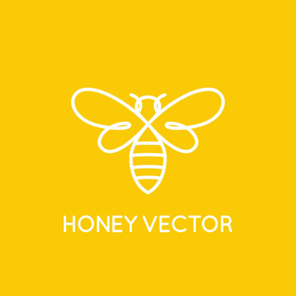 Honey bee concept - emblem for food packaging vector art illustration