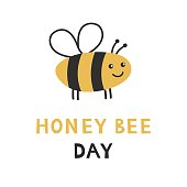 Honey bee day. Banner, poster, cadr template. Cute cartoon insect animal logo. Vector illustration.