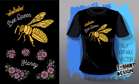 Honey bee golden embroidery queen crown textile fabrics lettering gold wings insect t-shirt design. Hand drawn vector honey bee luxury fashion embroidered style