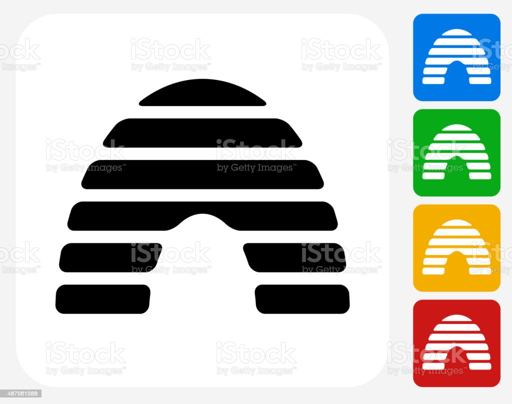 Honey Bee Hive Icon Flat Graphic Design vector art illustration