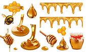 Honey, bee, honeycomb, drop, seamless pattern. Set 3d vector elements. Package design