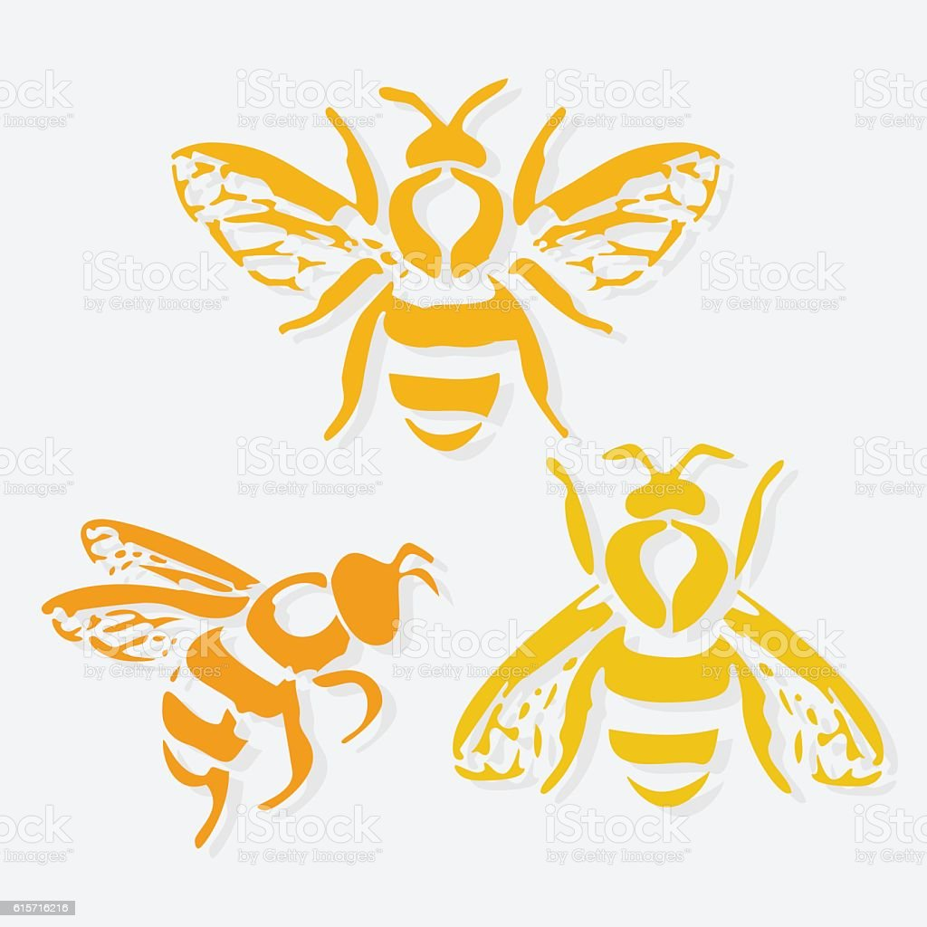 Honey bee icon. Vector illustration. - Illustration vectorielle