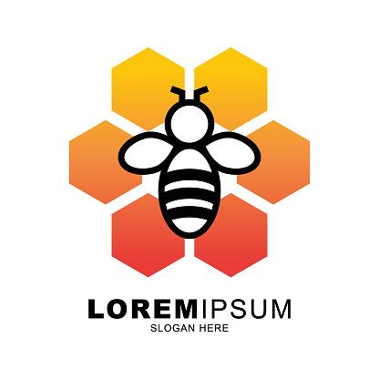 honey bee logo vector for company