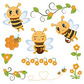 Set of honey bee characters and icons