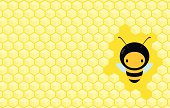 Illustration of a honey bee in a honeycomb background.