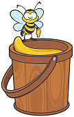Cute bee collecting honey