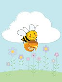 A cute little bee happily flying over flowery meadow, carrying a jar of honey. EPS 8, no gradients used, all items are set on labeled layers, hi-res JPEG included (~A4 size, 300dpi).