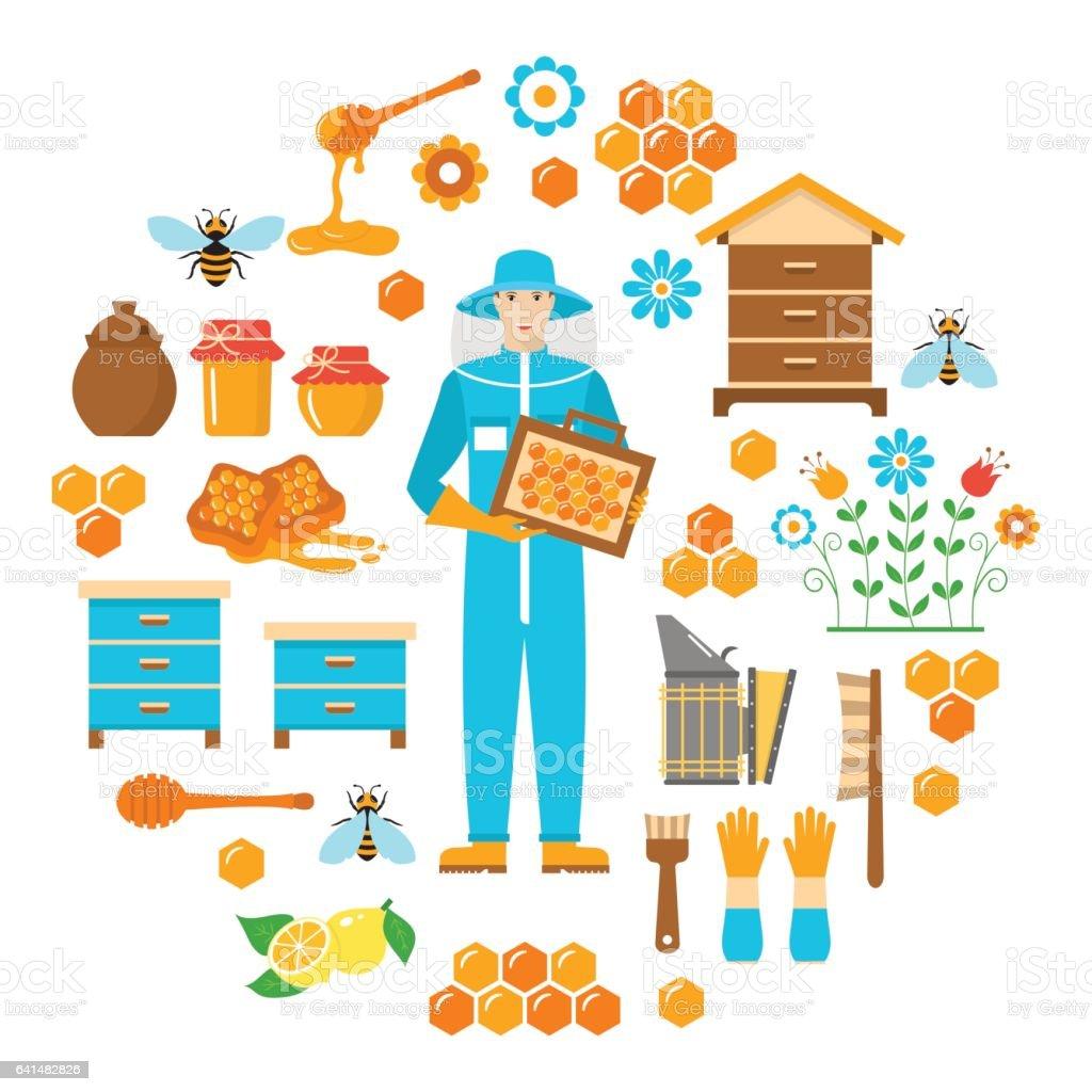 Miel apiculture jeu de plat icônes vectorielles - Illustration vectorielle