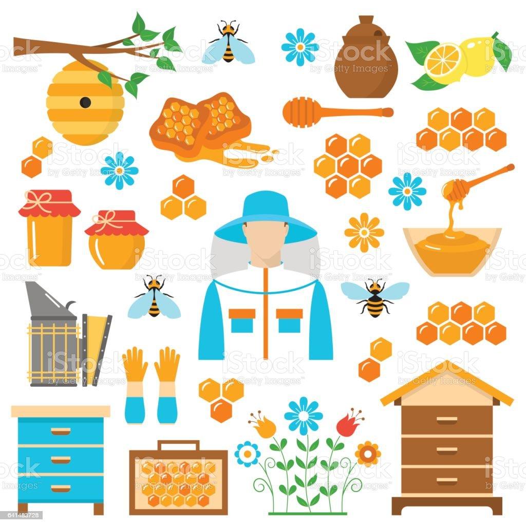 Honey beekeeping vector flat icons set vector art illustration