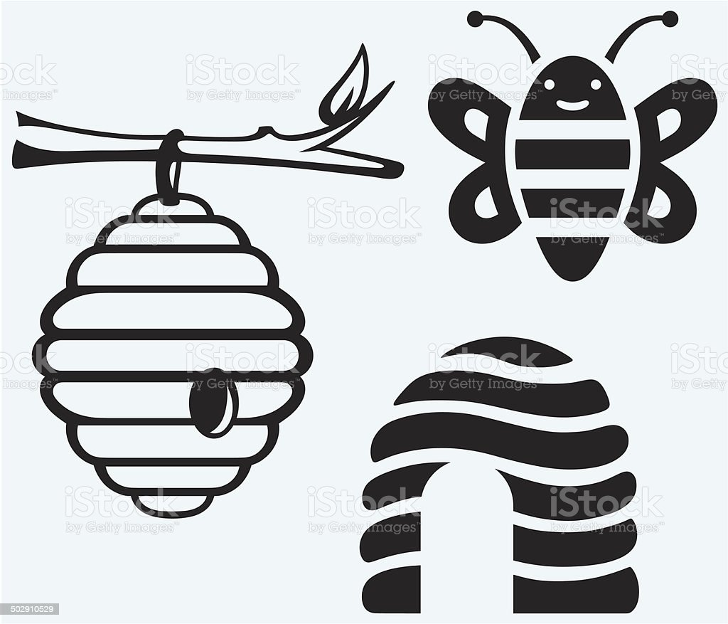 honey bees and hive stock vector art 502910529 istock