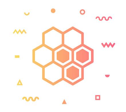 Honey Comb Line Style Icon Design