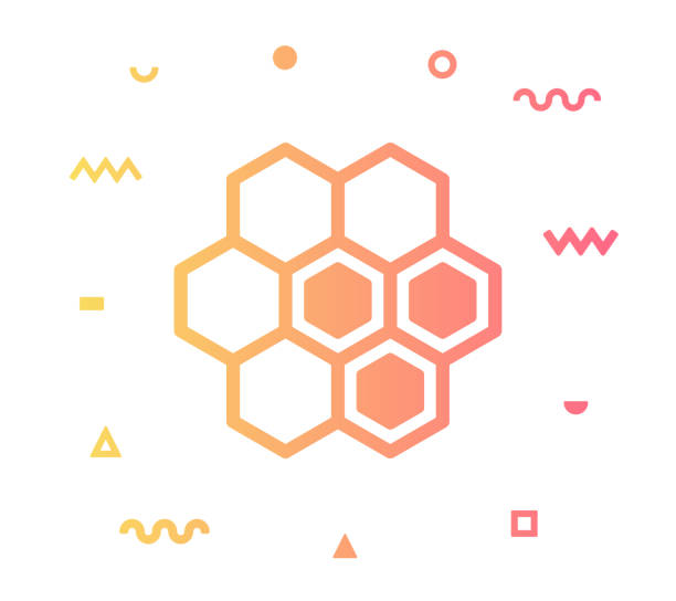 Honey Comb Line Style Icon Design Honey comb outline style icon design with decorations and gradient color. Line vector icon illustration for modern infographics, mobile designs and web banners. honeycomb animal creation stock illustrations