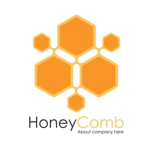 honey comb logo template design vektor, waben-emblem, konzept - bienenwachs stock-grafiken, -clipart, -cartoons und -symbole