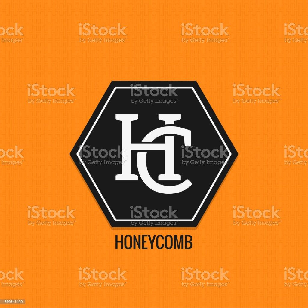 Miel, icône maquette design. Les lettres H et C vector background - Illustration vectorielle