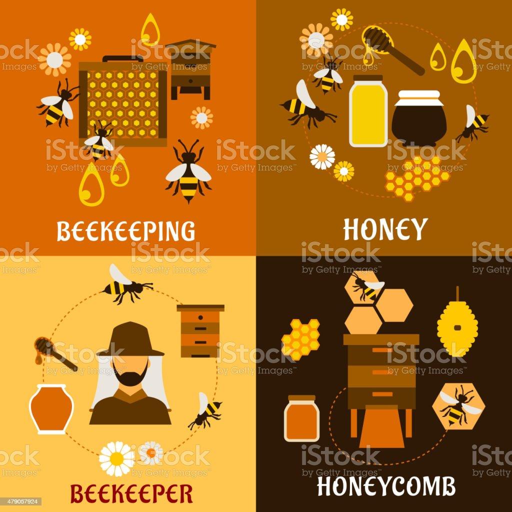 concept de miel avec les abeilles, beehives et les roches - Illustration vectorielle