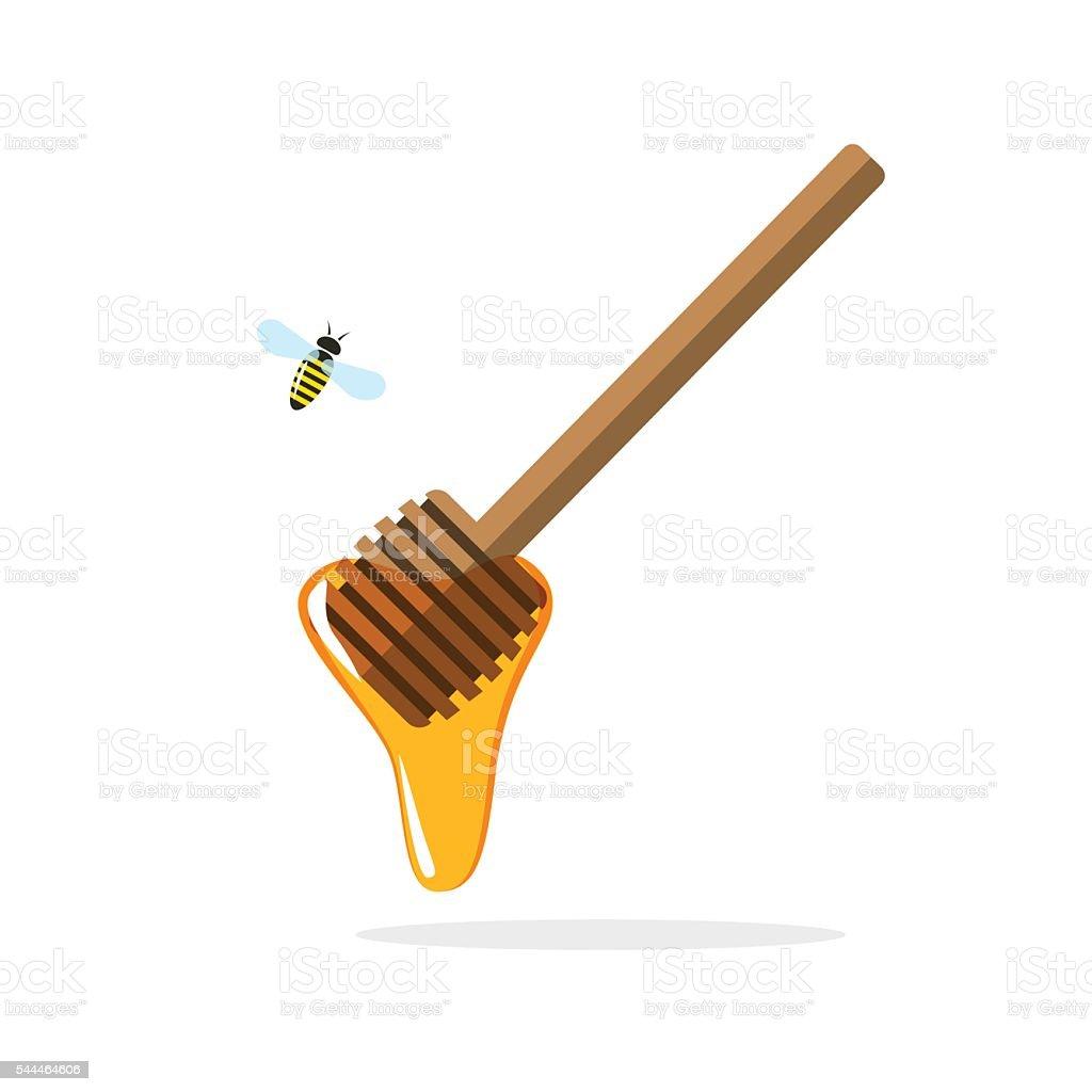Honey dipper vector, wooden stick amd flowing drop, flying bee
