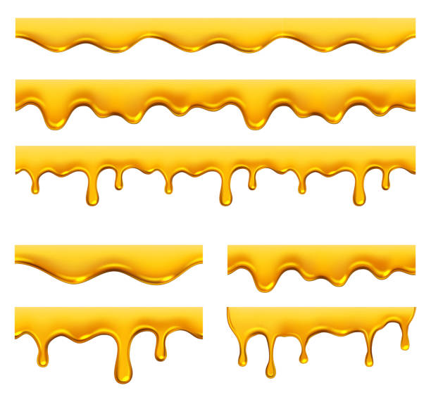 illustrazioni stock, clip art, cartoni animati e icone di tendenza di honey dripping. yellow syrup liquid golden oil drops and splashes vector realistic template - sciroppo