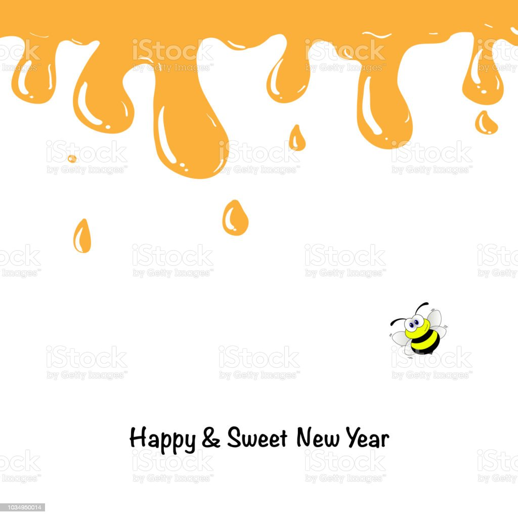 Honey Drips With Shana Tova Greetings Rosh Hashanah Card Template