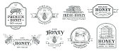 Honey farm badge. Beekeeping logo, retro bee badges and vintage hand drawn mead label. Natural honey bees sweets stamp, honey product tags. Vector illustration isolated symbols set