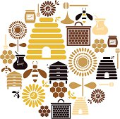 A set of honey and bee themed icons. See below for a repeatable pattern of this file.