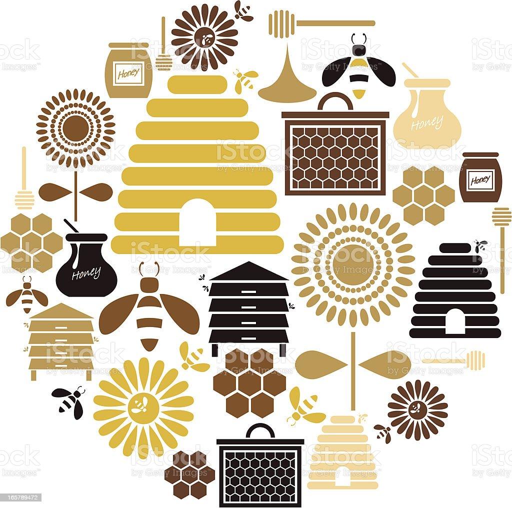 Honey Icon Set vector art illustration