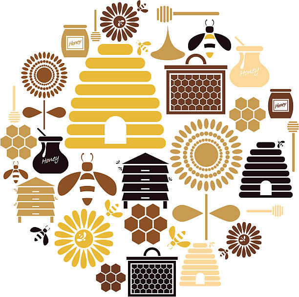 Honey Icon Set A set of honey and bee themed icons. See below for a repeatable pattern of this file. beehive stock illustrations