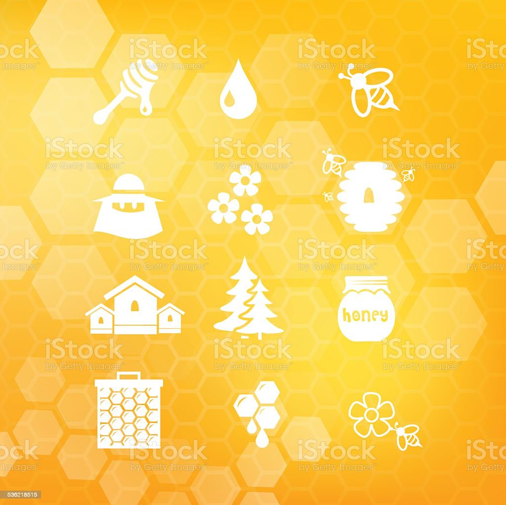 Honey icon set vector illustration