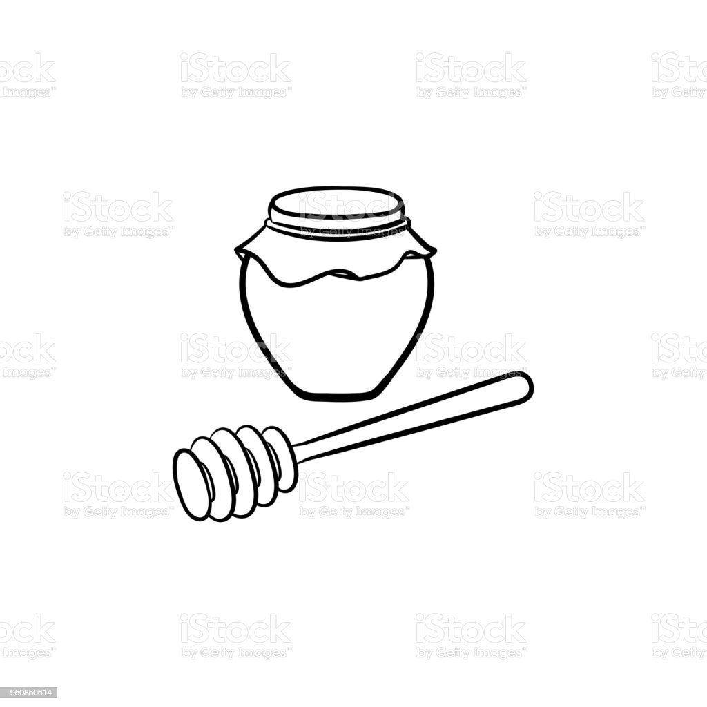 Honey in a jar and spoon hand drawn sketch icon