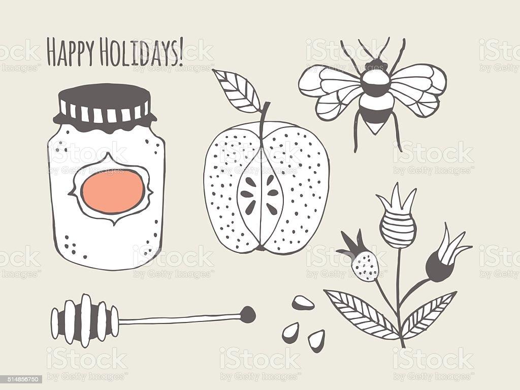 Honey jar and apple creative card design vector art illustration