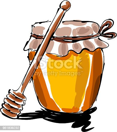 drawing of Honey jar, Elements are grouped.contains eps10 and high resolution jpeg.
