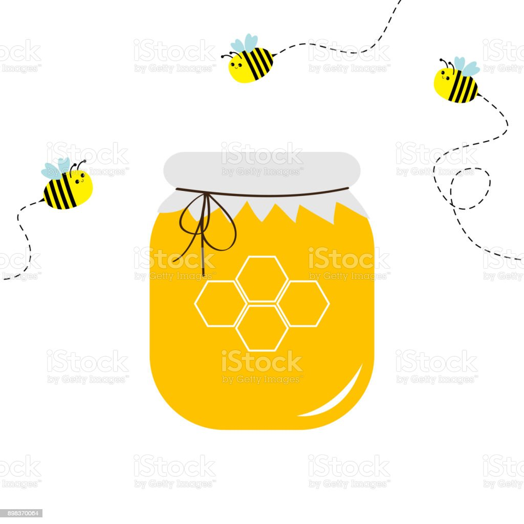 280d3b1ba1170 Honey jar pot icon. Honeycomb logo. Beehive element. Flying bee insect dash  line set. Paper top and bow. Yellow healthy food. Isolated. White  background.