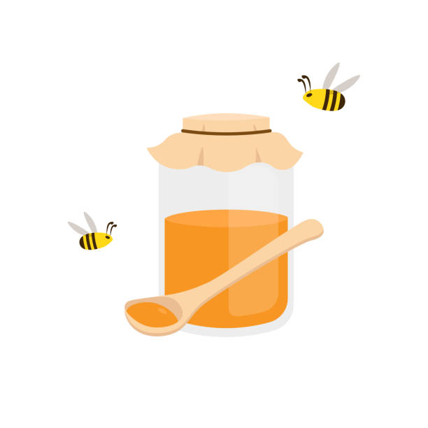 honey jar, spoon and bees isolated vector art illustration