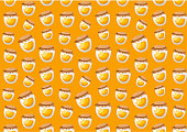 Honey jars. Vector seamless pattern on yellow background