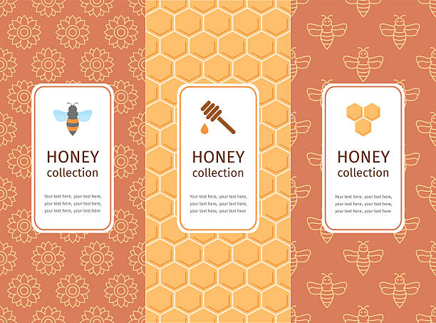 honey label, logo, sticker design elements. - bienenwachs stock-grafiken, -clipart, -cartoons und -symbole