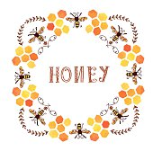 Honey label vintage style - round form