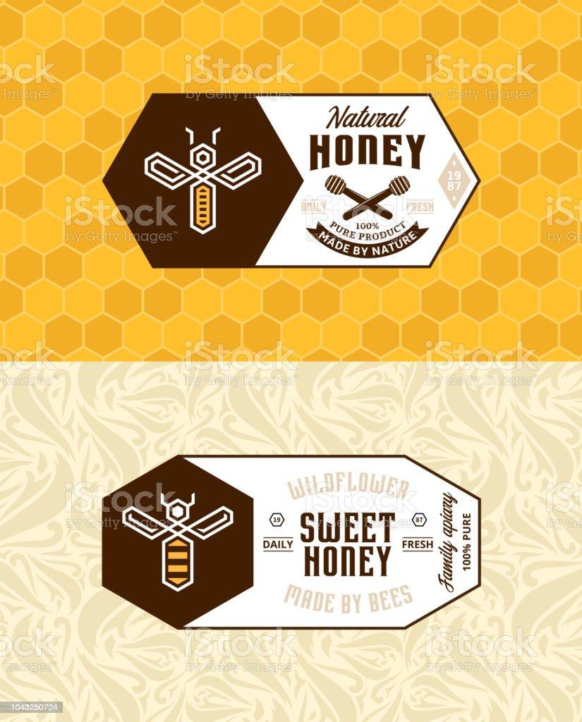 Honey Labels And Packaging Design Stock Illustration Download