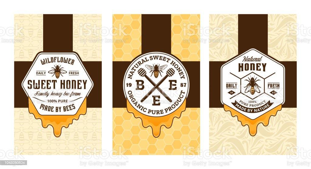Honey Labels Cards And Packaging Design Stock Illustration