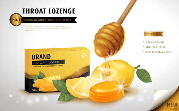 illustrations, cliparts, dessins animés et icônes de honey lemon throat lozenge - pastille
