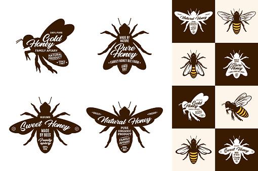 Honey logo and bee icons