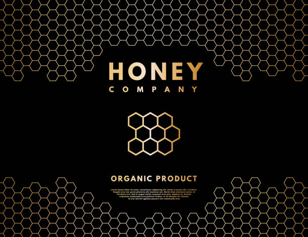 illustrazioni stock, clip art, cartoni animati e icone di tendenza di honey logo with gold gradient honeycombs in frame. - miele dolci