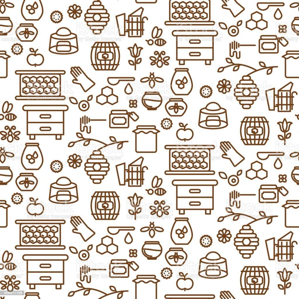 Honey outline icon seamless vector pattern – Vektorgrafik