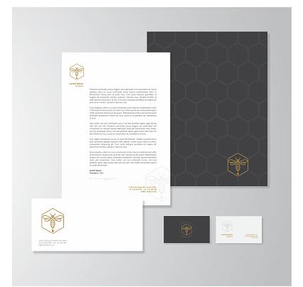 Honey production company stationery design