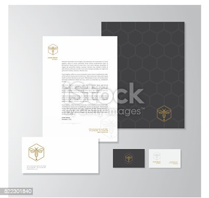 Stationery design for a honey production company. Letterhead, folder, envelope and business card with logo. All design elements are layered and grouped. Eps10, contains transparent objects.