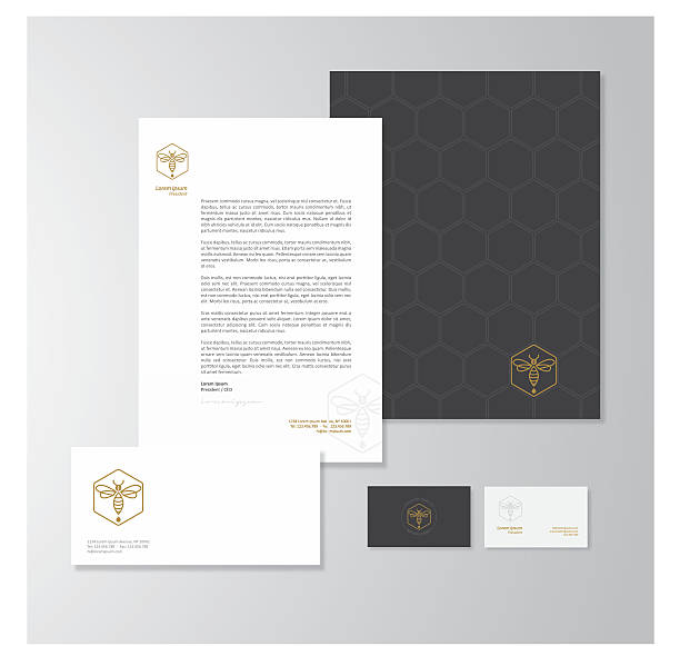 honey production company stationery design - business cards templates stock illustrations