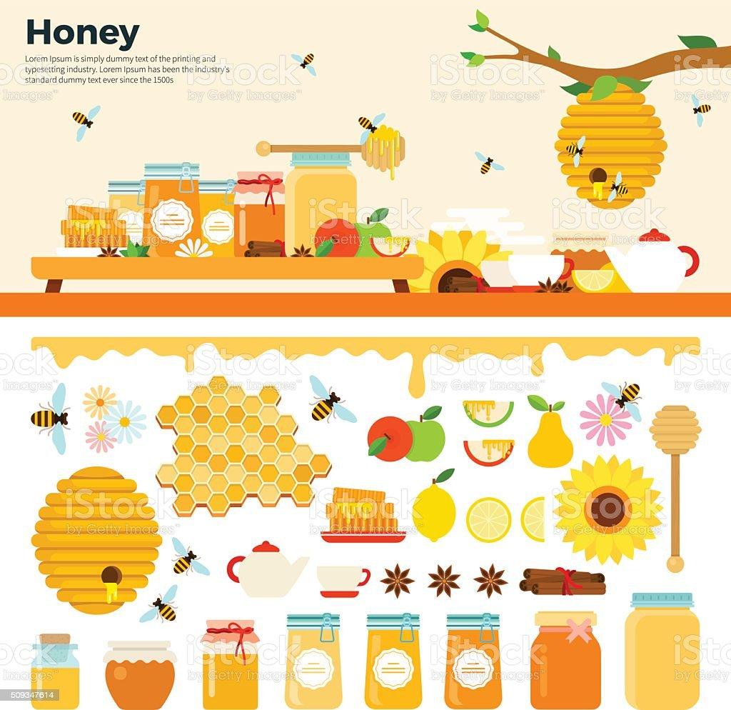 Prodotti di miele sul tavolo - arte vettoriale royalty-free di Alimentazione sana