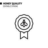 Honey Quality Line Icon, Outline Vector Symbol Illustration. Pixel Perfect, Editable Stroke.