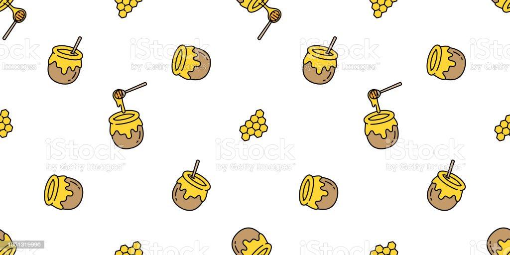 Honey Seamless Pattern Vector Bear Bee Polar Bear Bakery Bake Jam