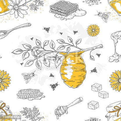 Honey sketch pattern. Hand drawn honeycomb and beehive seamless background with flowers and bees. Vector honey poster template seamless pattern