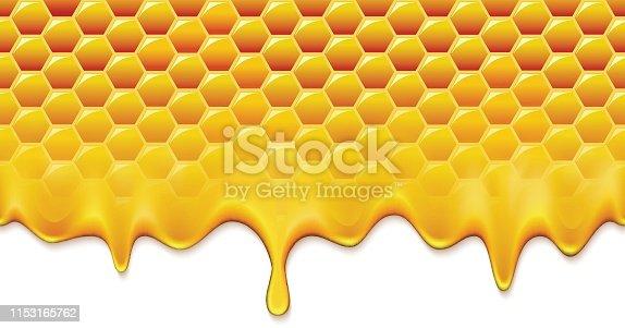 858282944 istock photo Honey splash dripping from bee honeycomb. Natural fresh eco product. 1153165762