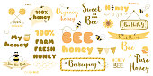 Honey text set bee words phrases Typography quotes yellow honeycomb frames ribbon thought heading. Cute hand drawn sweet design elements. Beekeeping. Vector illustration.